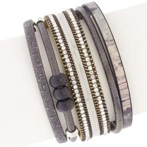 Genuine Leather and Howlite Bracelet